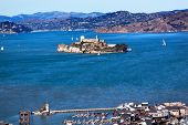 Fisherman's Wharf Alcatraz Island Sail Boats San Francisco California
