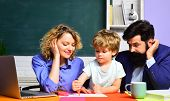Happy Family. Boy From Elementary School. Mother Father And Son Together Schooling. Back To School A poster