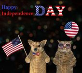 The Dog Patriot With The Us Flag And The Patriotic Cat With An American Balloon Are Standing Togethe poster