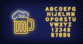 Mug Of Beer With Foam Neon Sign. Beer And Party Design. Night Bright Neon Sign, Colorful Billboard,  poster