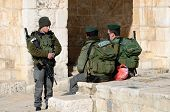 JERUSALEM - FEBRUARY 20: Israeli Border Police chat February 20, 212 in Jerusalem, IL. Known as Maga