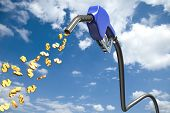 Dollar signs comming out of a blue fuel nozzle