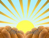 The Background Made Of Plaited White Bread And The  Sun.