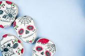 Dia De Los Muertos, Mexican Day Of The Dead Or Halloween Greeting Card Background With Traditional C poster