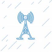 Blue Antenna Line Icon Isolated On White Background. Radio Antenna Wireless. Technology And Network  poster