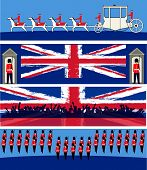 foto of guardsmen  - Set of vector templates for a British royal celebration with a State Symbols and Union Jacks - JPG