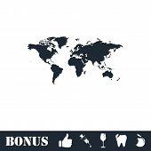 World Map Icon Flat. Vector Illustration Symbol And Bonus Pictogram poster