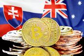 Concept For Investors In Cryptocurrency And Blockchain Technology In The Slovakia And Australia. Bit poster