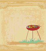 foto of bbq party  - grunge Barbecue Party Invitation - JPG