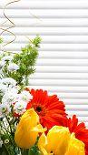 Bouquet Of Tulips, Gerberas, Greenery, Wild Flowers