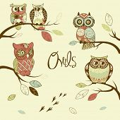 Owls, trendy card with owls sitting on the brunches