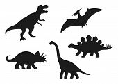 Dinosaur Vector Silhouettes - T-rex, Brachiosaurus, Pterodactyl, Triceratops, Stegosaurus. Cute Flat poster