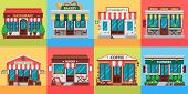 Restaurants And Shops Facades. Old Shop Building, Market Store And Restaurant Buildings Exterior. Sh poster