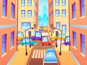 City Crossroad With Cars. Road Traffic Intersection, Town Street Car Jam And Crosswalk With Traffic  poster