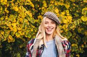 Autumn Is Here. Fashion Trend. Pretty Woman In Hat. Fancy Girl. Woman Wear Checkered Clothes Nature  poster