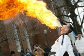 FLUSHING, NY - FEB 12:  A fire breather performs at a Chinese New Year parade on February 12, 2005 i