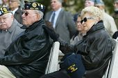 NEW YORK - NOV 11: Retired Judge and veteran Maurice Harbater (L) and his wife, Marilyn Harbater (R)