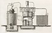 Industrial cooling apparatus old schematic illustration. Created by Bourdelin, published on L'Illust