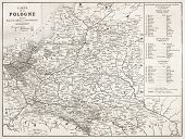Poland old map. By unidentified author, published on L'Illustration, Journal Universel, Paris, 1863