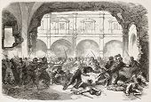 French intervention in Mexico old illustration: fighting in Puebla's prison courtyard. Created by Wo