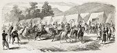 Spahis encampment in Toulon, old illustration (French army light cavalry regiments recruited in west
