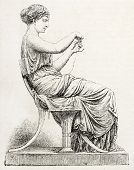 Woman unraveling a skein, old illustration after statue sculpted by Salmson, published on L'Illustra