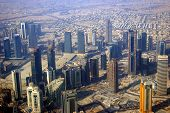 image of qatar  - Aerial photo of the central business district of Doha the capital city of Qatar.