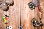 Fishing Gear Collection. Fishing Gear Preparation. Flat Lay. Fishing Gear Collection. Fishing Gear P poster
