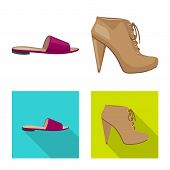 Isolated Object Of Footwear And Woman Sign. Set Of Footwear And Foot Stock Vector Illustration. poster