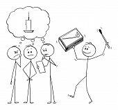 Vector Cartoon Stick Figure Drawing Conceptual Illustration Of Team Of Businessmen Brainstorming Bra poster