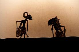 stock photo of mahabharata  - Wayang Kulit Javanese theater of puppet - JPG