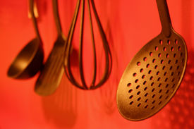 picture of kitchen utensils  - utensils on red wall - JPG