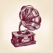Ilustración de vector vintage de gramófono