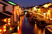 East Venice city at night - Suzhou, China.