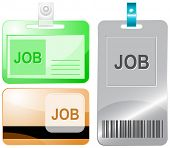Job. Id cards. Raster illustration.