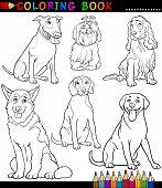 Perros y cachorros Página para colorear de dibujos animados