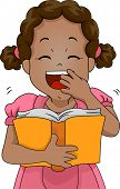Illustration of a Girl Laughing Out Loud While Reading a Book