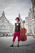 Particular cellist in a square