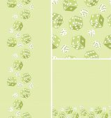 Set of three dice seamless pattern background