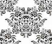 Damask seamless pattern with roses on white background