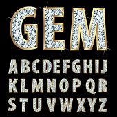 Vektor golden Alphabet mit Diamanten