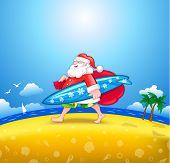 Walking Santa with surfboard