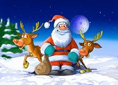 Santa Claus Surrounded By His Deers