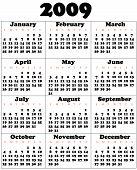 Calendário para 2009
