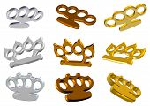 stock photo of brass knuckles  - A set of 3d golden and white knuckle dusters - JPG