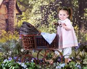 An adorable little girl pushing an old fashioned doll buggy in a flowery rural setting.