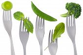 Healthy Raw Green Food On White