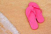 Summer Vacation Background Flip Flops On Beach