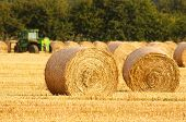 stock photo of haystacks  - Freshly rolled golden hay bales in farmers recently harvested agricultural field - JPG