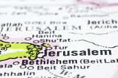 Close Up Of Jerusalem On Map, Israel